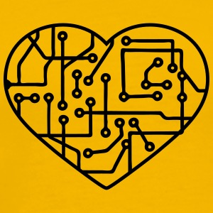 heart, love circuitry electrically disk microchip  T-Shirts - Men's Premium T-Shirt