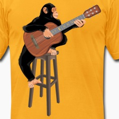 Chimpanzee with acoustic guitar