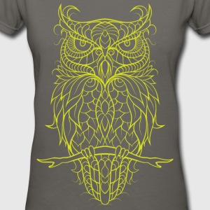 V-neck Tshirt yellow owl - Women's V-Neck T-Shirt