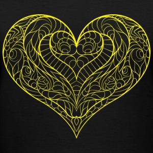 V-neck Tshirt yellow heart - Women's V-Neck T-Shirt