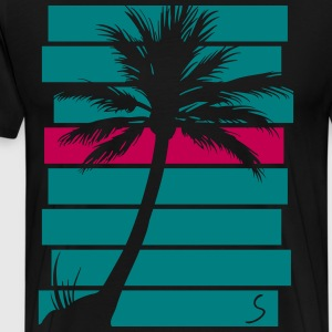 Palmtree over stripes - Men's Premium T-Shirt