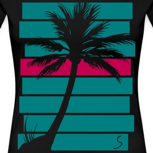 Palmtree over stripes - Women's Premium T-Shirt