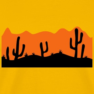 desert evening night sunset sunrise kakten cactus  T-Shirts - Men's Premium T-Shirt