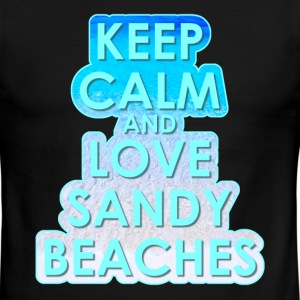 KEEP CALM AND LOVE SANDY BEACHES - Men's Ringer T-Shirt