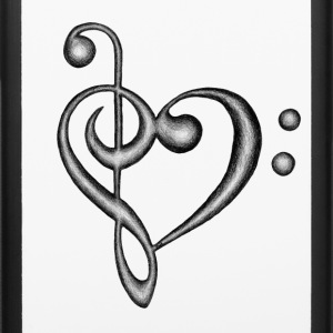 Treble & Bass Clef Heart Hand Drawn Design - iPhone 6/6s Rubber Case