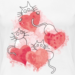 Cats Cute Watercolor - Women's Premium T-Shirt