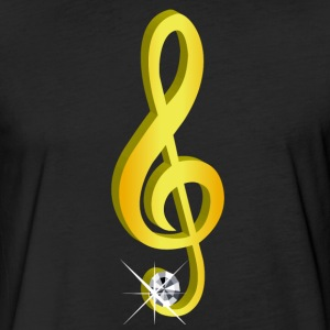 Gold icon musical treble clef - Fitted Cotton/Poly T-Shirt by Next Level