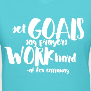 Set Goals (White) - Women's V-Neck T-Shirt