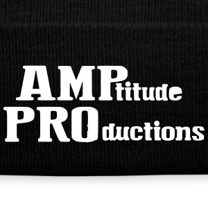 AMPtitude Black Beanie - Knit Cap with Cuff Print