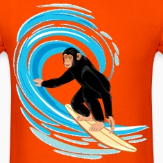 Monkey surfing big tube wave