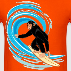Monkey surfing big tube wave - Men's T-Shirt