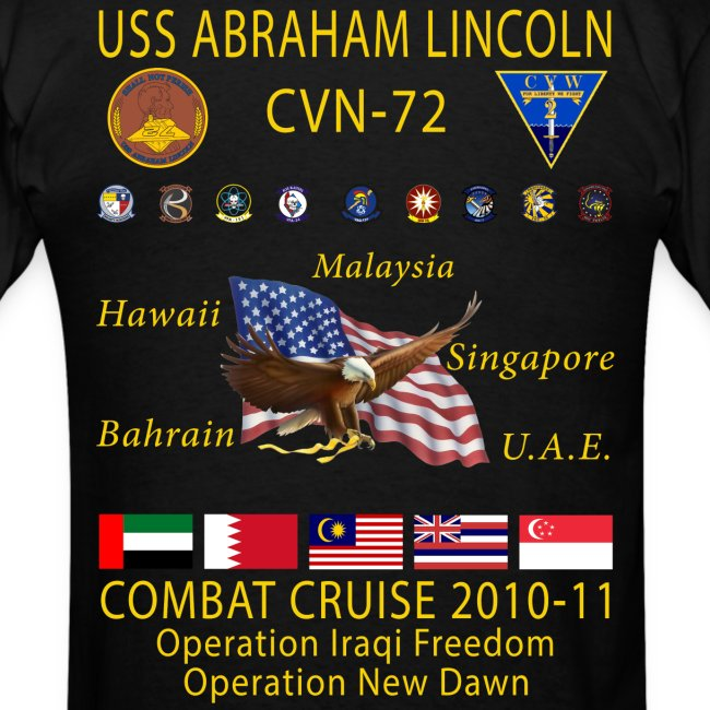USS ABRAHAM LINCOLN CVN-72 COMBAT CRUISE 2010-11 CRUISE SHIRT
