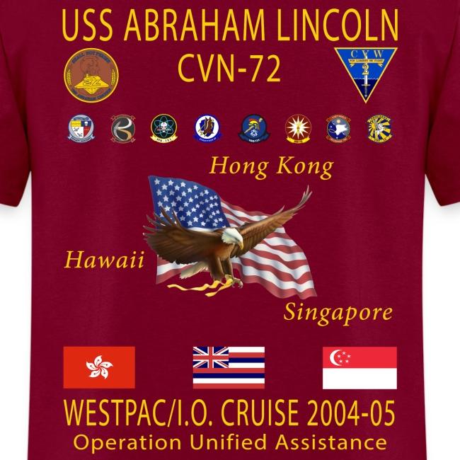 USS ABRAHAM LINCOLN CVN-72 WESTPAC 2004-05 CRUISE SHIRT