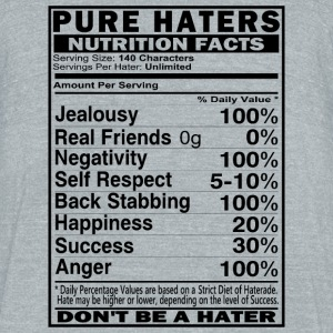 Haters Nutrition Facts T-Shirts - Unisex Tri-Blend T-Shirt by American Apparel