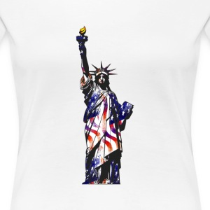 Statue Of Liberty American USA National Flag Indep - Women's Premium T-Shirt
