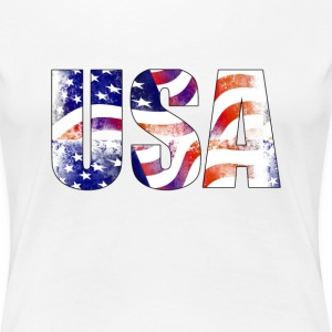 American USA Text National Flag Independence Day 4 - Women's Premium T-Shirt