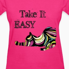 Take it Easy Pop Cat Pink T-shirt