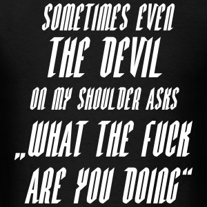 Devil asks wtf SHIRT MAN - Men's T-Shirt