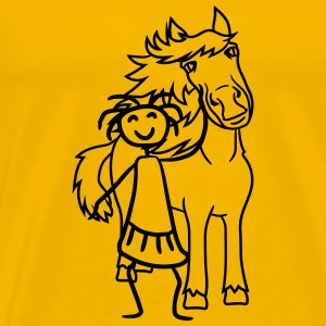 funny comic cartoon horse wall shield text empty u T-Shirts - Men's Premium T-Shirt