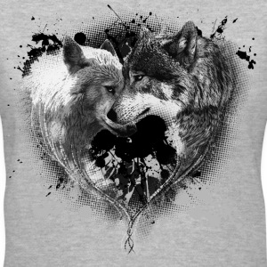 Heart Wolves - Women's V-Neck T-Shirt