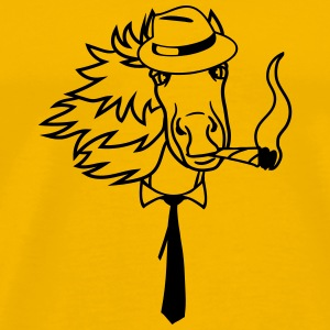 hat hat cigarette ties hermann cigar face head bea T-Shirts - Men's Premium T-Shirt