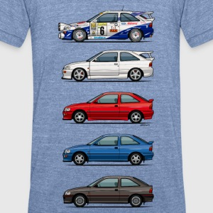 Stack of Ford Escort MkVs Coupes T-Shirts - Unisex Tri-Blend T-Shirt by American Apparel