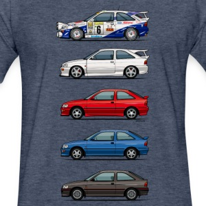 Stack of Ford Escort MkVs Coupes T-Shirts - Fitted Cotton/Poly T-Shirt by Next Level