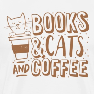 books cats and coffee  T-Shirts - Men's Premium T-Shirt