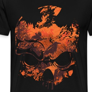 OPTICAL ILLUSION - SKULL, CROWS & TREES - Men's Premium T-Shirt