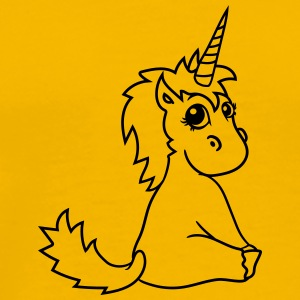 unicorn unicorn foal sweet cute sitting comic cart T-Shirts - Men's Premium T-Shirt