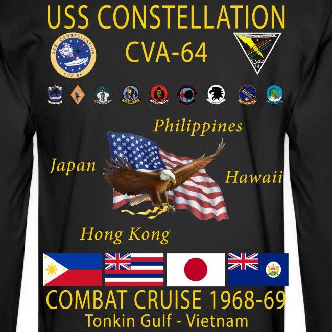 USS CONSTELLATION CVA-64 COMBAT CRUISE 1968-69 CRUISE SHIRT - LONG SLEEVE