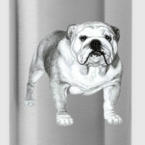 Bulldog Drawing - Water Bottle