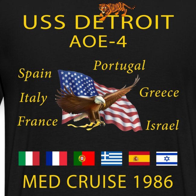 USS DETROIT AOE-4 1986 CRUISE SHIRT WITH TIGER