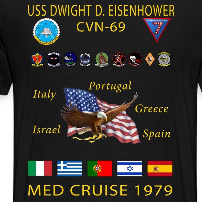 USS DWIGHT D EISENHOWER CVN-69 MED CRUISE 1979 CRUISE SHIRT - SIZES TO 5X