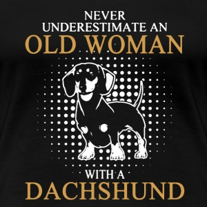 Old Woman With Dachshund - Women's Premium T-Shirt