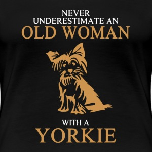 Old Woman With A Yorkie - Women's Premium T-Shirt