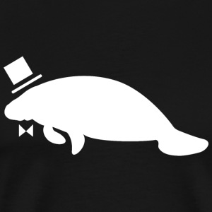 Formal Top Hat & Bow Tie Manatee - Men's Premium T-Shirt