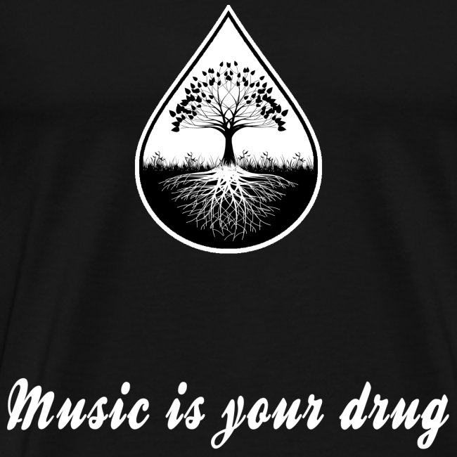 "White ""music is your drug"" text and white logo shirt"