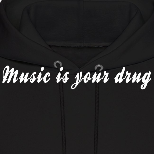 """White """"music is your drug"""" text hoodie"""