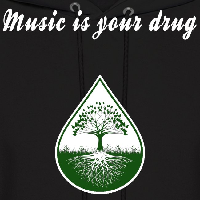"White ""music is your drug"" text and green logo hoodie"