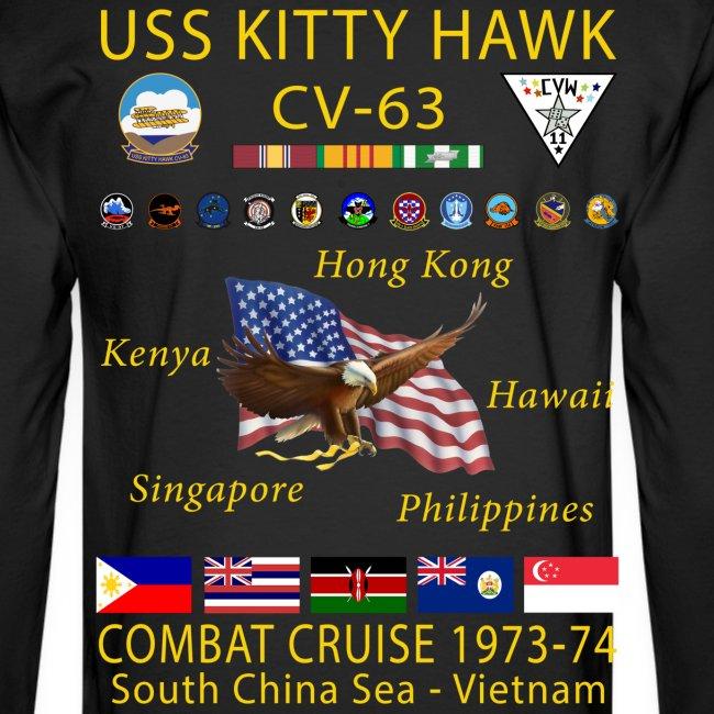 USS KITTY HAWK CV-63 COMBAT CRUISE 1973-74 CRUISE SHIRT - LONG SLEEVE