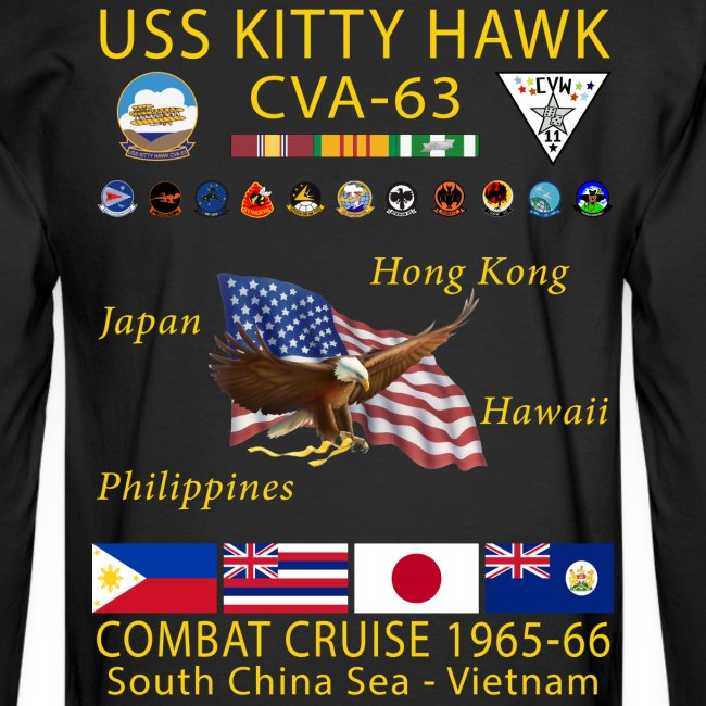 USS KITTY HAWK CVA-63 COMBAT CRUISE 1965-66 CRUISE SHIRT - LONG SLEEVE