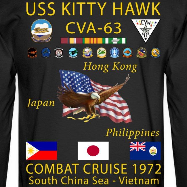 USS KITTY HAWK CVA-63 COMBAT CRUISE 1972 CRUISE SHIRT - LONG SLEEVE