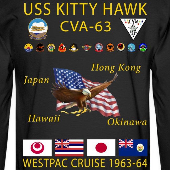 USS KITTY HAWK CVA-63 WESTPAC CRUISE 1963-64 CRUISE SHIRT - LONG SLEEVE