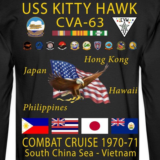 USS KITTY HAWK CVA-63 COMBAT CRUISE 1970-71 CRUISE SHIRT - LONG SLEEVE