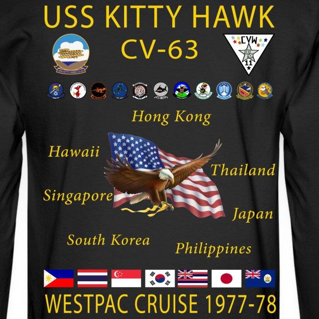 USS KITTY HAWK CV-63 WESTPAC CRUISE 1977-78 CRUISE SHIRT - LONG SLEEVE