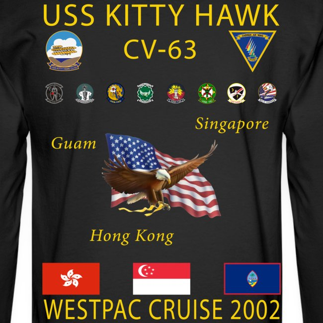 USS KITTY HAWK CV-63 2002 CRUISE SHIRT - LONG SLEEVE