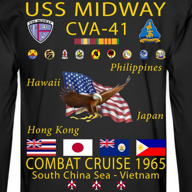 USS MIDWAY CVA-41 1965 COMBAT CRUISE SHIRT - LONG SLEEVE