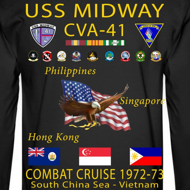 USS MIDWAY CVA-41 1972-73 COMBAT CRUISE SHIRT - LONG SLEEVE