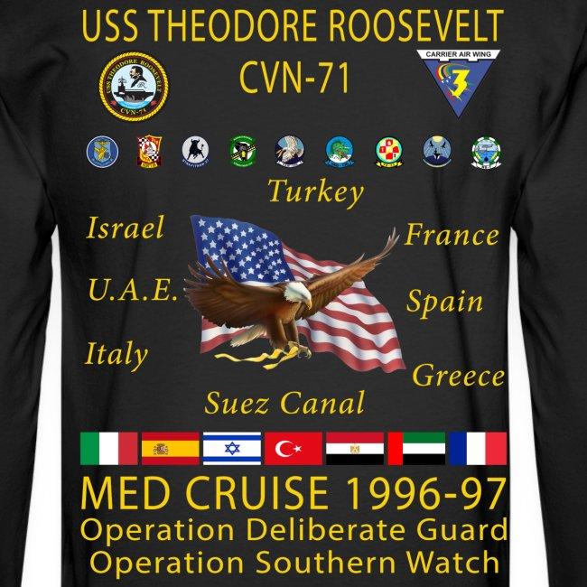 USS THEODORE ROOSEVELT CVN-71 1996-97 CRUISE SHIRT - LONG SLEEVE